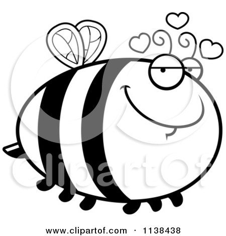 Cartoon Clipart Of An Outlined Chubby Amorous Bee - Black And White Vector Coloring Page by Cory Thoman