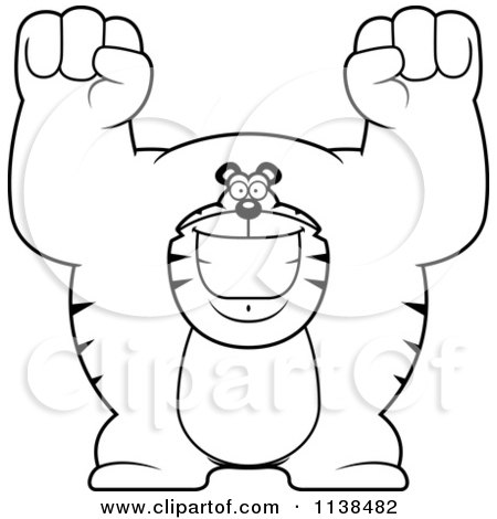 Cartoon Clipart Of An Outlined Excited Buff Tiger Cheering - Black And White Vector Coloring Page by Cory Thoman