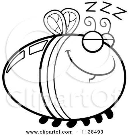 Cartoon Clipart Of An Outlined Sleeping Firefly Lightning Bug - Black And White Vector Coloring Page by Cory Thoman