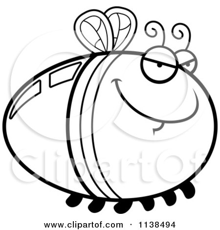 Cartoon Clipart Of An Outlined Sly Firefly Lightning Bug - Black And White Vector Coloring Page by Cory Thoman