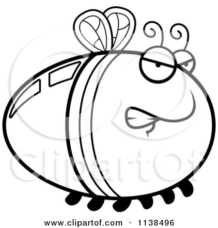 Cartoon Clipart Of An Outlined Angry Firefly Lightning Bug - Black And White Vector Coloring Page by Cory Thoman