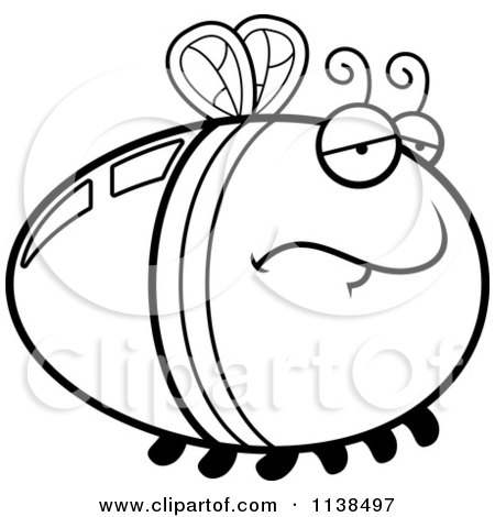 Cartoon Clipart Of An Outlined Depressed Firefly Lightning Bug - Black And White Vector Coloring Page by Cory Thoman