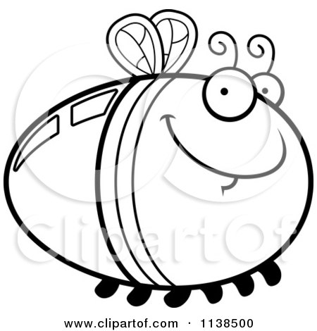 Cartoon Clipart Of An Outlined Grinning Firefly Lightning Bug - Black And White Vector Coloring Page by Cory Thoman