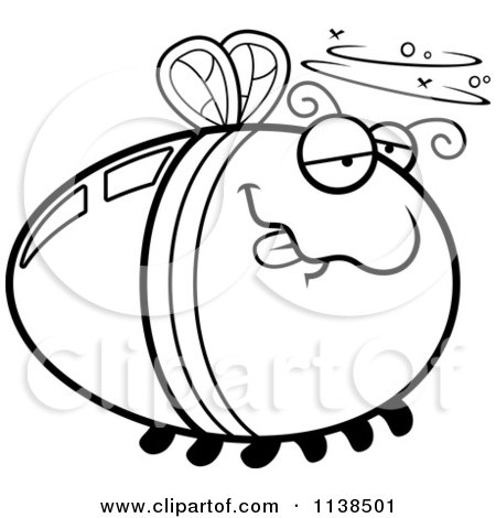 Cartoon Clipart Of An Outlined Drunk Firefly Lightning Bug - Black And White Vector Coloring Page by Cory Thoman