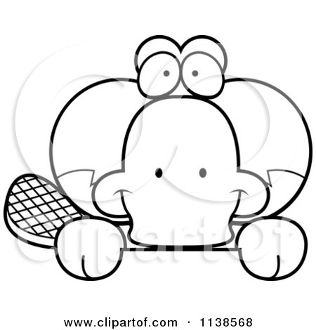 Cartoon Clipart Of An Outlined Cute Happy Platypus Hanging Over A Sign - Black And White Vector Coloring Page by Cory Thoman
