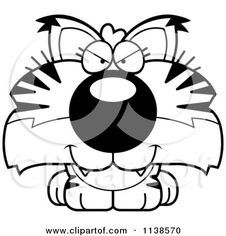 Cartoon Clipart Of An Outlined Cute Sly Bobcat Cub - Black And White Vector Coloring Page by Cory Thoman