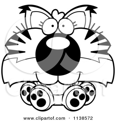 Cartoon Clipart Of An Outlined Cute Sitting Bobcat Cub - Black And White Vector Coloring Page by Cory Thoman
