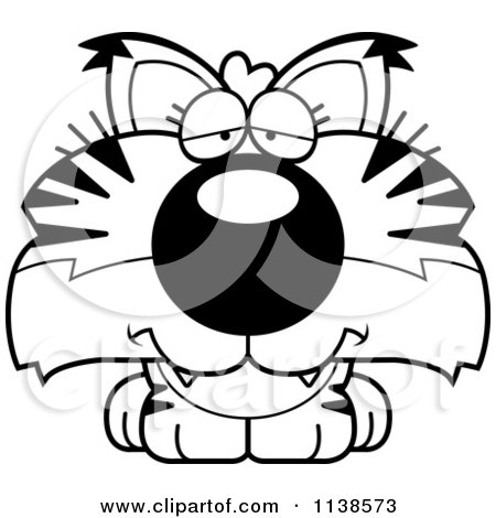 Cartoon Clipart Of An Outlined Cute Depressed Bobcat Cub - Black And White Vector Coloring Page by Cory Thoman