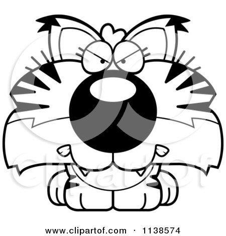 Cartoon Clipart Of An Outlined Cute Angry Bobcat Cub - Black And White Vector Coloring Page by Cory Thoman