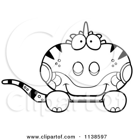 Cartoon Clipart Of An Outlined Clipart Cute Iguana Lizard Hanging Over A Sign - Black And White Vector Coloring Page by Cory Thoman