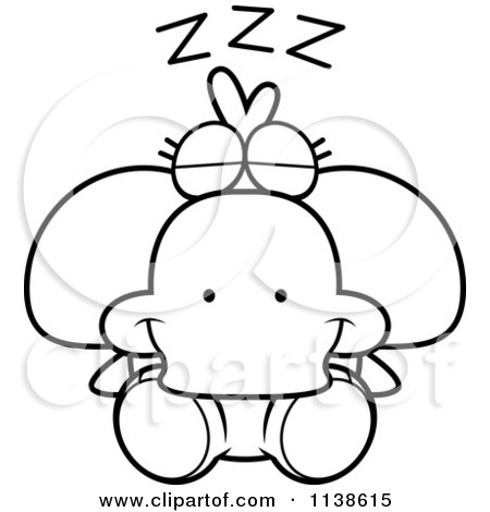 Cartoon Clipart Of An Outlined Cute Sleeping Duck - Black And White Vector Coloring Page by Cory Thoman