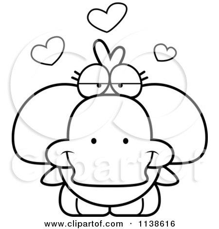 Cartoon Clipart Of An Outlined Cute Amorous Duck - Black And White Vector Coloring Page by Cory Thoman