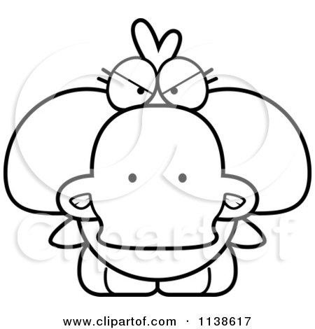 Cartoon Clipart Of An Outlined Cute Angry Duck - Black And White Vector Coloring Page by Cory Thoman