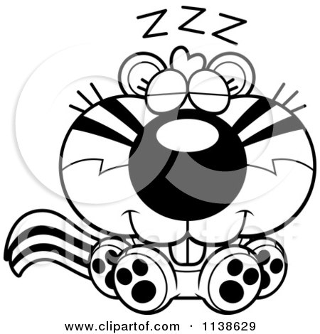 Cartoon Clipart Of An Outlined Cute Sleeping Chipmunk - Black And White Vector Coloring Page by Cory Thoman