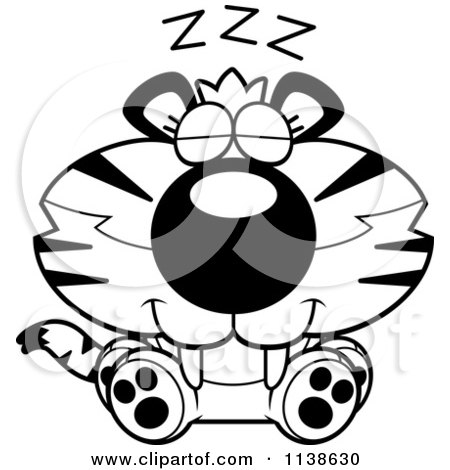 Cartoon Clipart Of An Outlined Cute Sleeping Tiger Cub - Black And White Vector Coloring Page by Cory Thoman