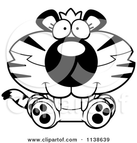 Cartoon Clipart Of An Outlined Cute Sitting Tiger Cub - Black And White Vector Coloring Page by Cory Thoman