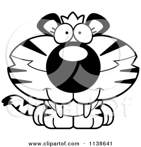 Cartoon Clipart Of An Outlined Cute Happy Tiger Cub - Black And White Vector Coloring Page by Cory Thoman