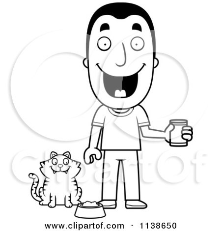 Cartoon Clipart Of An Outlined Happy Man Feeding His Cat ...