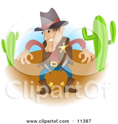Sheriff Cowboy in Western Wear in a Desert, Preparing to Draw His Guns Clipart Illustration by AtStockIllustration
