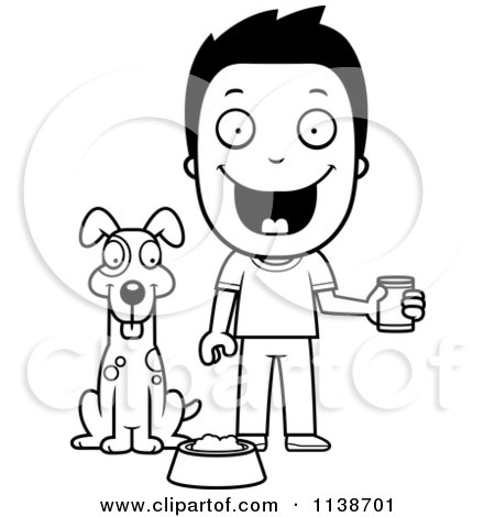 1138701-Cartoon-Clipart-Of-A-Black-And-White-Happy-Boy-Feeding-His-Dog-Vector-Outlined-Coloring-Page.jpg