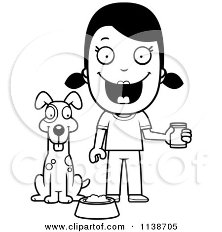 Cartoon Clipart Of A Black And White Happy Girl Feeding Her Dog - Vector Outlined Coloring Page by Cory Thoman
