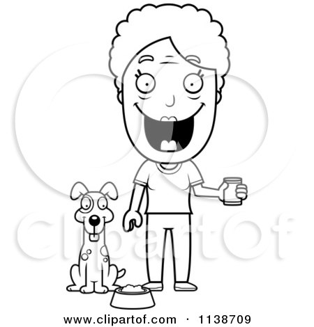 Cartoon Clipart Of A Black And White Happy Senior Woman Feeding Her Dog - Vector Outlined Coloring Page by Cory Thoman