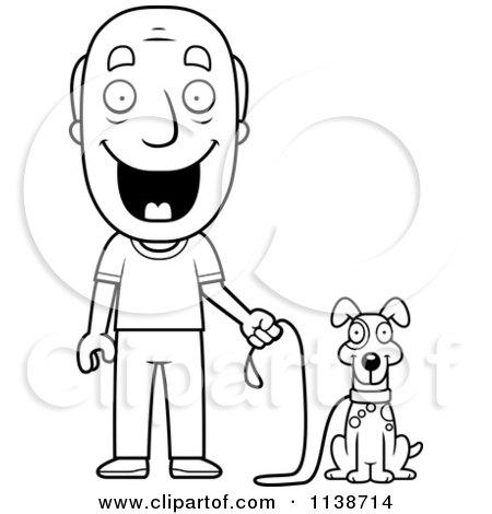 Cartoon Clipart Of A Black And White Happy Senior Man ...