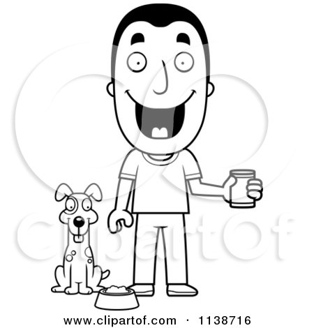 Cartoon Clipart Of A Black And White Happy Man Feeding His ...