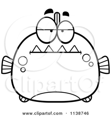 Cartoon Clipart Of A Black And White Bored Piranha Fish