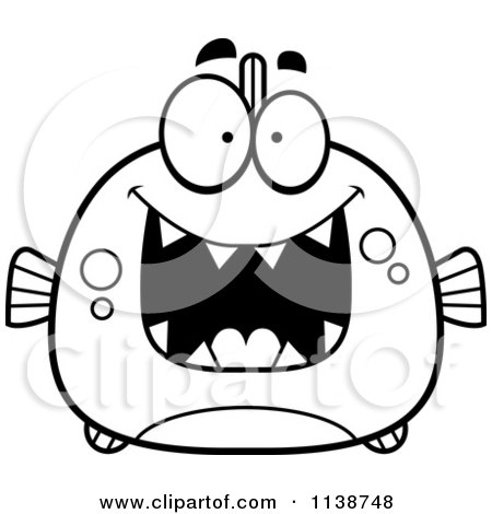 Cartoon Clipart Of A Black And White Frightened Piranha Fish ...