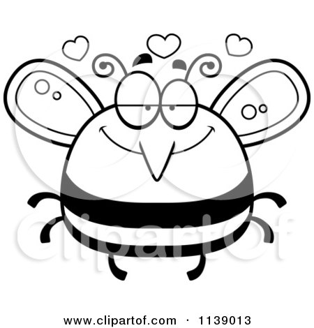 Cartoon Clipart Of A Black And White Pudgy Infatuated Bee - Vector Outlined Coloring Page by Cory Thoman