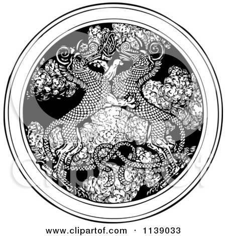 Clipart Of Vintage Black And White Dragons Entwined Over A Medallion Of Smoke - Royalty Free Vector Illustration by Picsburg