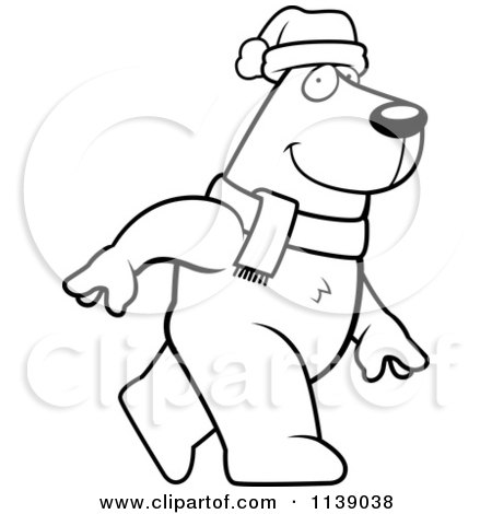 Cartoon Clipart Of A Black And White Walking Christmas Polar Bear - Vector Outlined Coloring Page by Cory Thoman