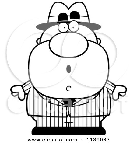 Cartoon Clipart Of A Black And White Shocked Mobster - Vector Outlined Coloring Page by Cory Thoman