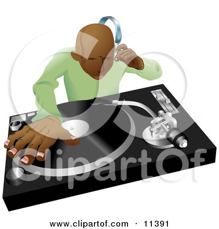 African American DJ Mixing His Records and Listening Through Headphones Clipart Illustration by AtStockIllustration