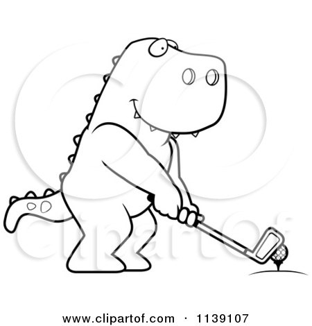 Cartoon Clipart Of A Black And White Golfing T Rex Holding The Club