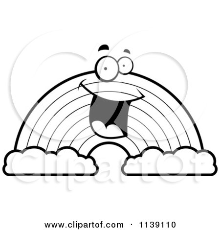 cartoon clipart of a black and white happy rainbow with two clouds vector outlined coloring page by cory thoman