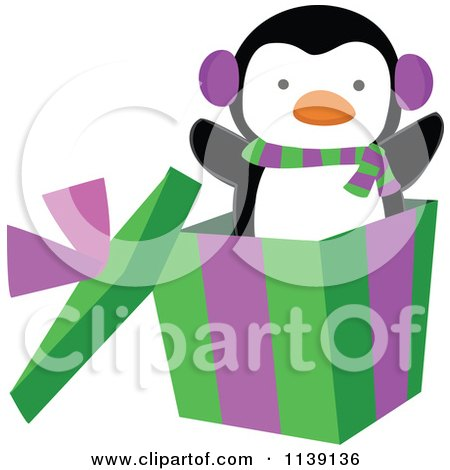 Cute Penguin Popping Out Of A Christmas Gift Box