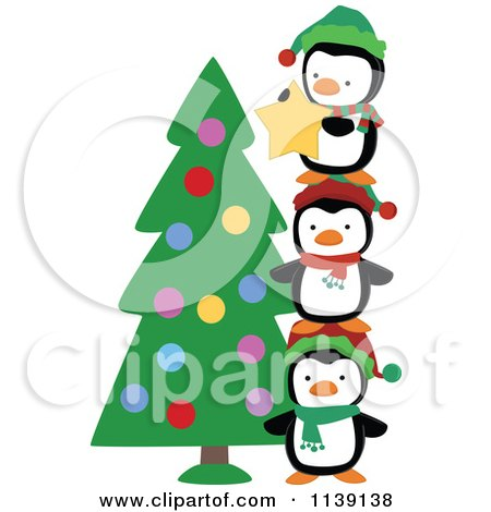 Cartoon Of Cute Christmas Penguins Stacking To Put A Star On A Tree - Royalty Free Vector Clipart by peachidesigns