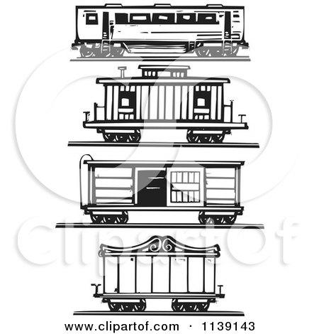 Black And White Woodcut Train