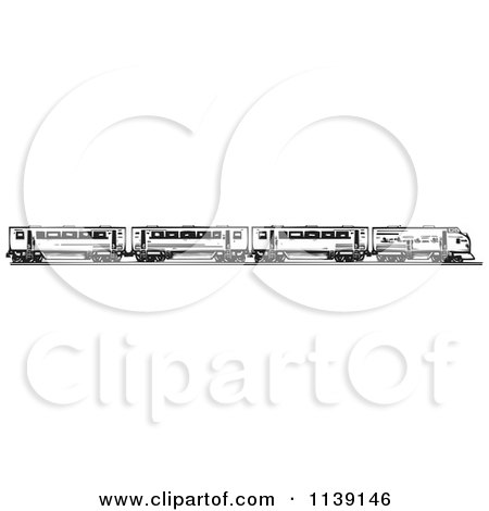 Clipart Of A Black And White Woodcut Train And Cars Royalty Free Vector Illustration