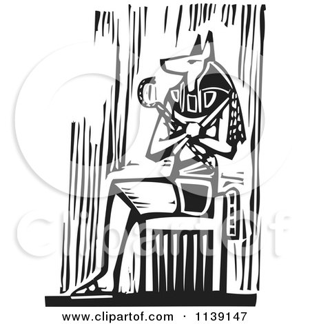Clipart Of A Black And White Egyptian Anubis Sitting Woodcut - Royalty Free Vector Illustration by xunantunich