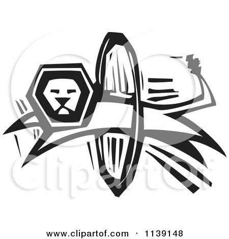 Clipart Of A Black And White Circus Lion Leaping Through A Hoop Woodcut - Royalty Free Vector Illustration by xunantunich