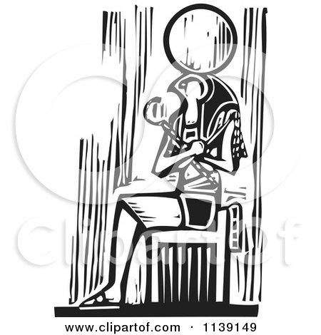 Clipart Of A Black And White Egyptian Osiris Sitting Woodcut - Royalty Free Vector Illustration by xunantunich