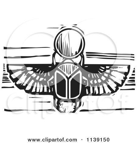 Clipart Of A Black And White Egyptian Scarab Woodcut - Royalty Free Vector Illustration by xunantunich
