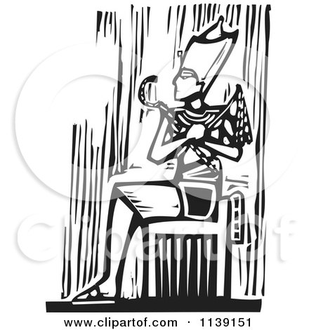 Clipart Of A Black And White Egyptian Pharaoh Sitting Woodcut - Royalty Free Vector Illustration by xunantunich