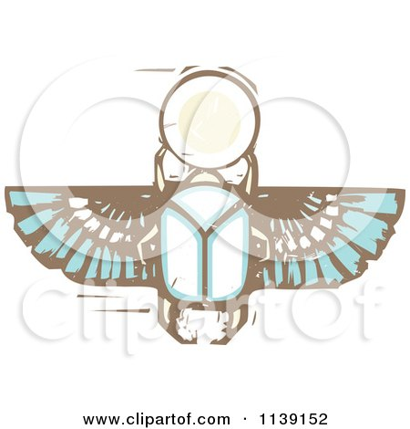 Clipart Of An Egyptian Scarab Woodcut - Royalty Free Vector Illustration by xunantunich