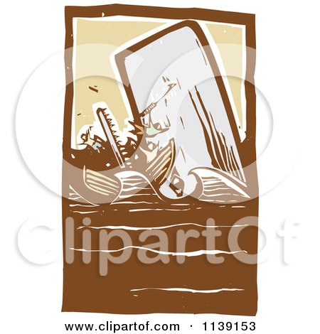 Clipart Of A Scrimshaw Of A Whale Attacking A Boat Woodcut - Royalty Free Vector Illustration by xunantunich