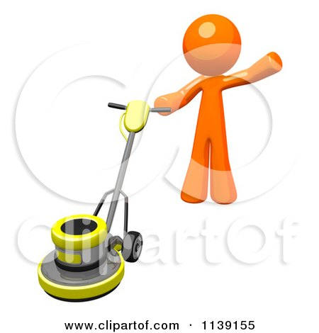 clipart of a 3d yellow floor polisher burnisher buffer 1