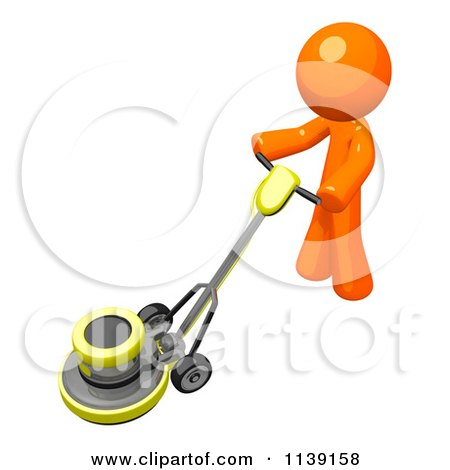 Clipart Of A Floor Polisher Buffer Machine Royalty Free